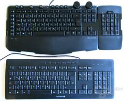 Zum Größenvergleich: Die massige SideWinder X6 und eine Cherry Stream