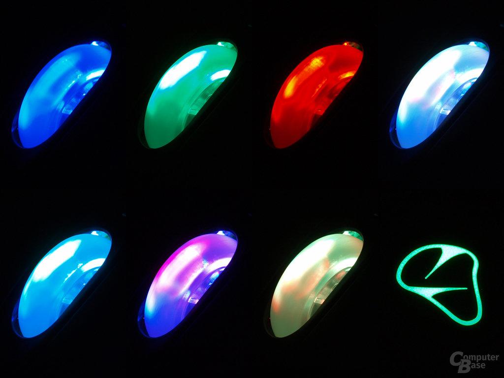 Sieben DPI-Positionen und Beleuchtungen