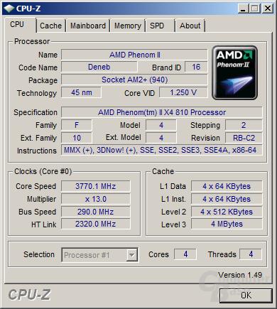 AMD Phenom II X4 810 bei 3,77 GHz