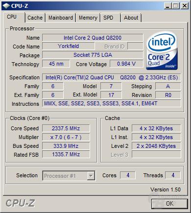 Q8200s mit minimaler Spannung