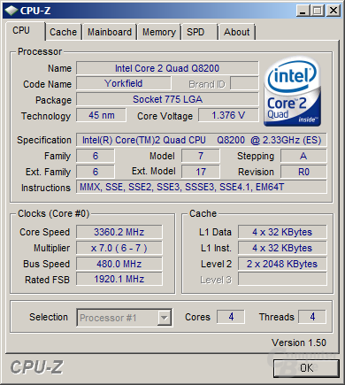 Q8200s auf 3,36 GHz übertaktet
