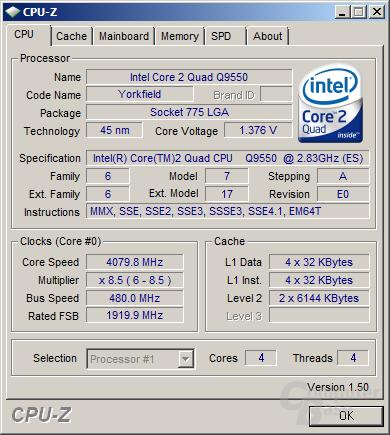 Q9550s bei sehr guten 4,08 GHz