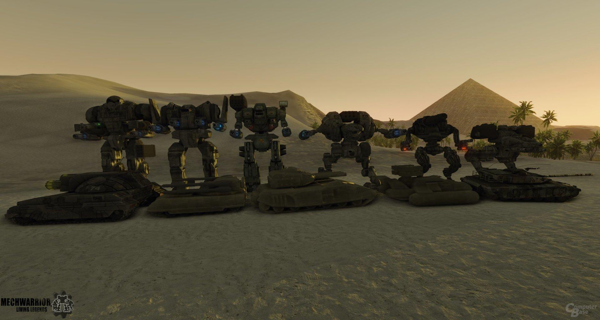 Größenverhältnisse: Mechs und Panzer der Inner Sphere