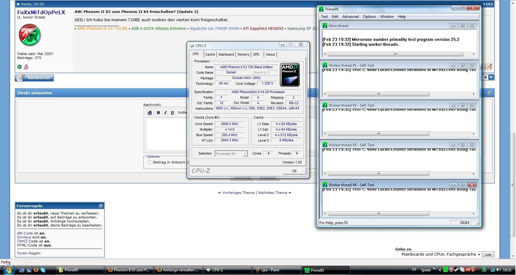 Leser-Screenshot eines freigeschalteten Phenom II X3