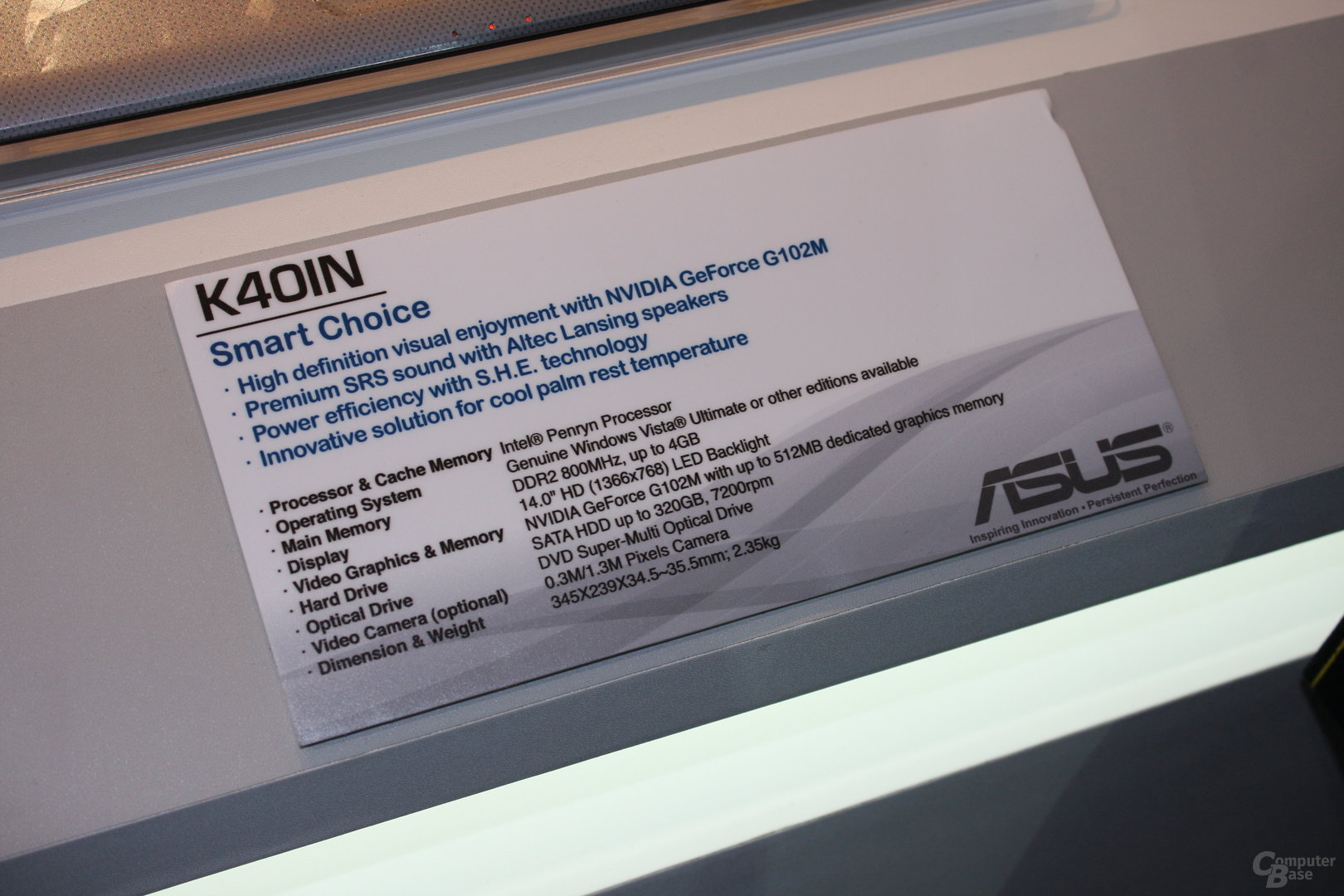 Asus K40IN mit GeForce GT102M