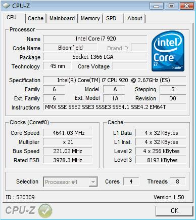 Intel Core i7-920 im D0-Stepping bei 4,64 GHz