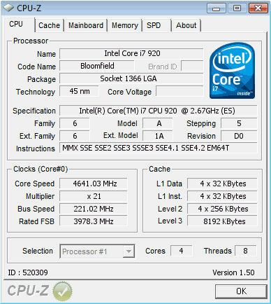 Intel Core i7-920 im D0-Stepping bei 4,64 GHz