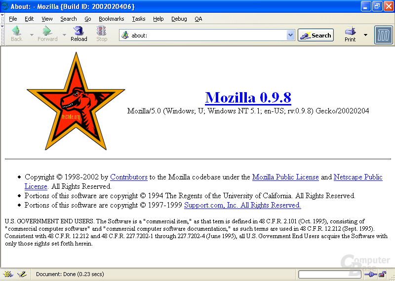 Versionsinfo Mozilla 0.98