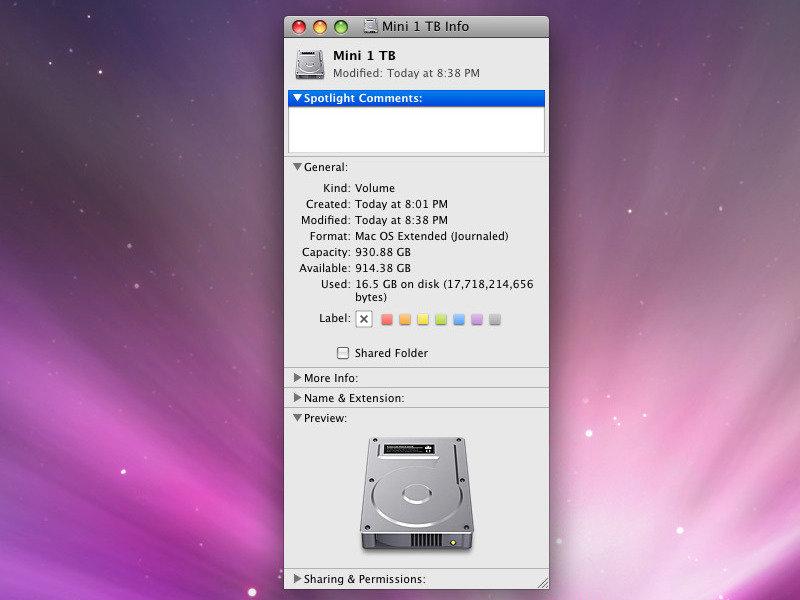 Geschafft: Mac mini mit 1-TByte-Festplatte