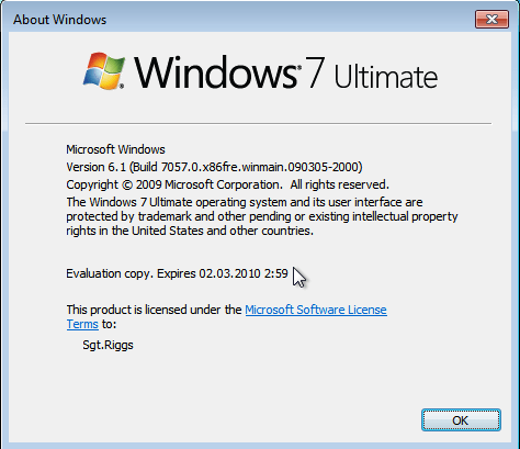 Windows 7 Build 7057