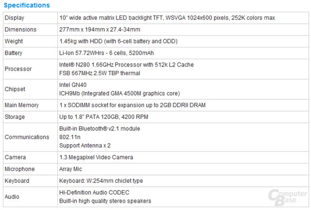 Spezifikationen des Eee PC 1004DN