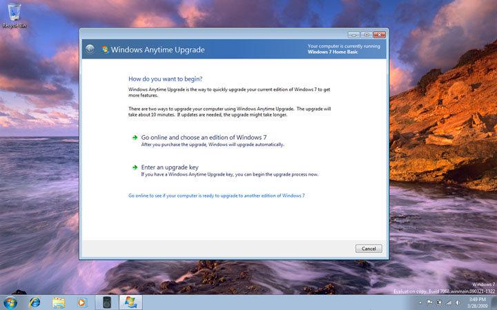 Windows 7 Build 7068 Home Basic