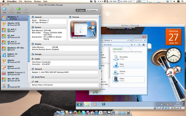 VirtualBox for Mac OS X. Within VirtualBox Windows 7 is running.