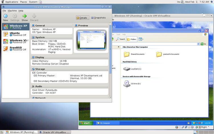 VirtualBox for Linux/UNIX. Within VirtualBox Windows XP is running.