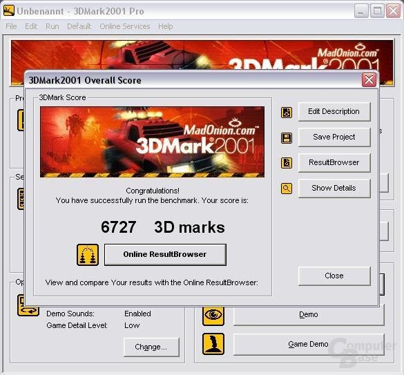 3D Mark 2001 Results