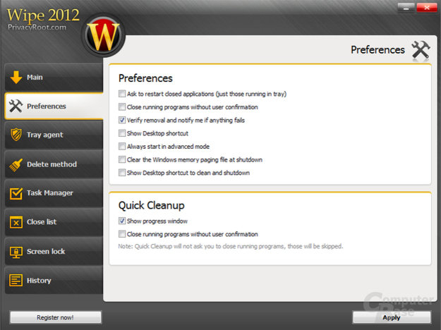 Wipe-2012 – Settings