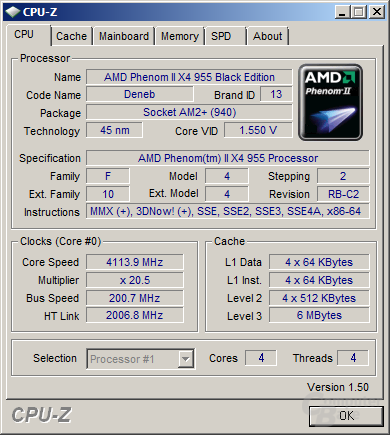 AMD Phenom II X4 955 Black Edition bei 4,1 GHz