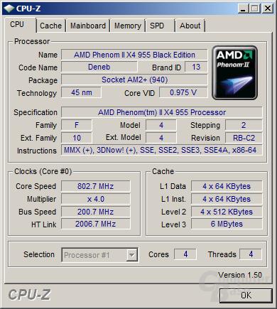 AMD Phenom II X4 955 Black Edition beim Stromsparen