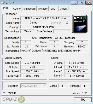 Bestätigtes Ergebnis eines AMD Phenom II X4 955 bei 7,128 GHz
