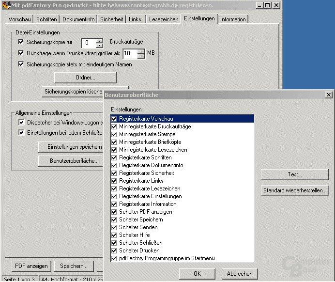 Registerkarte Einstellungen mit Fenster