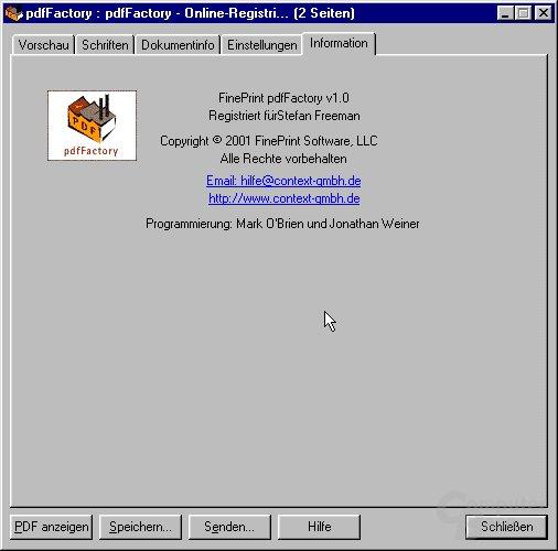 Das Registrierungs-Fenster