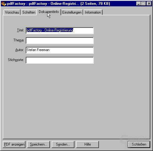 Dokumentinfo-Fenster