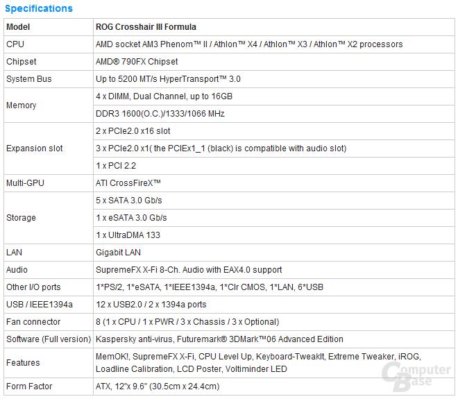 Spezifikationen zum Asus Crosshair III Formula