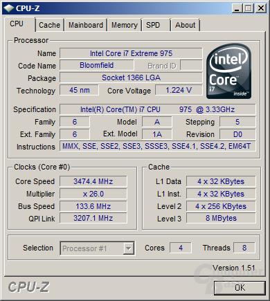 Intel Core i7 975 XE mit erstem Turbo-Schritt