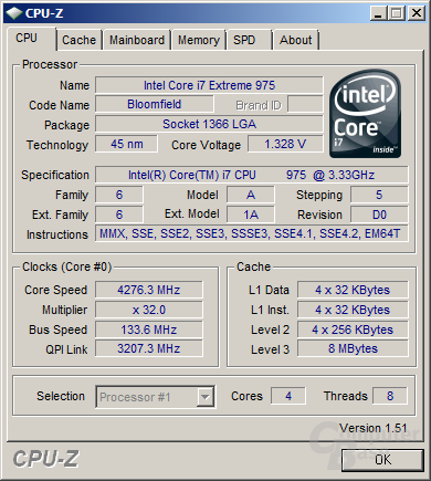 Intel Core i7 975 XE bei 4,26 GHz und 1,33 Volt