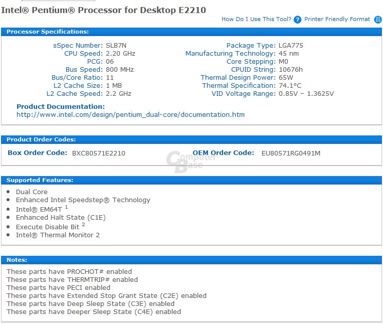 Intel Pentium E2210