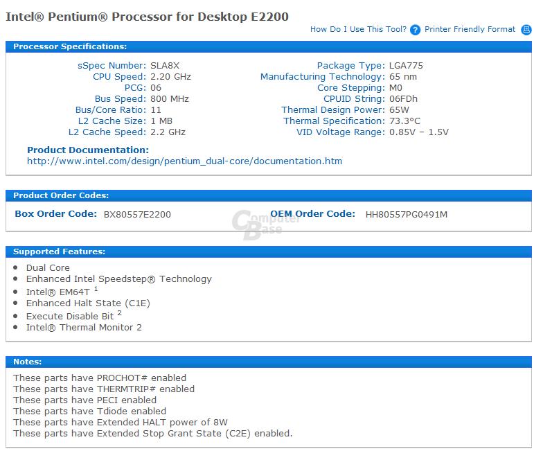 Intel Pentium E2200