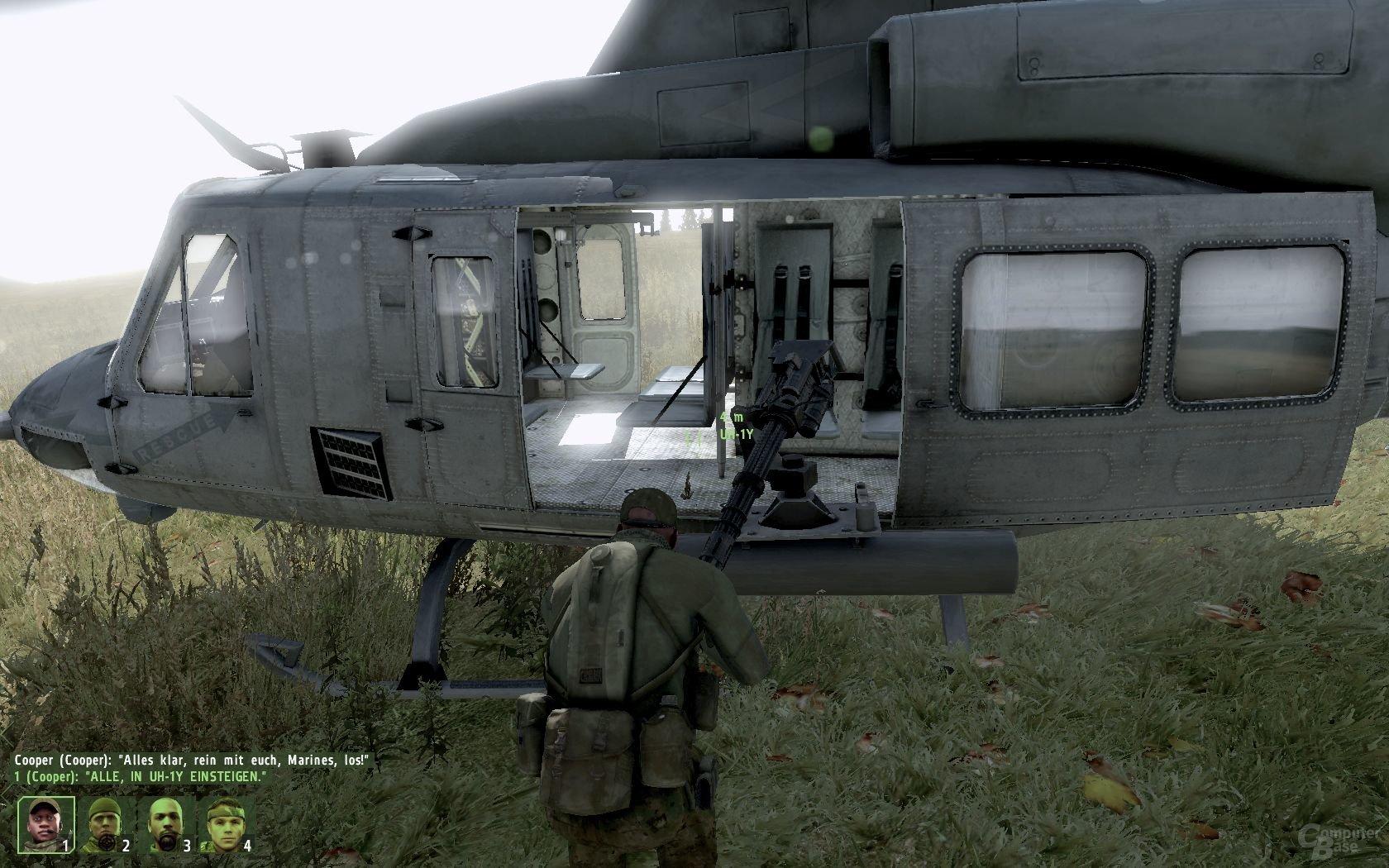 Der Transport via KI-Hubschrauber klappt nicht immer reibungslos
