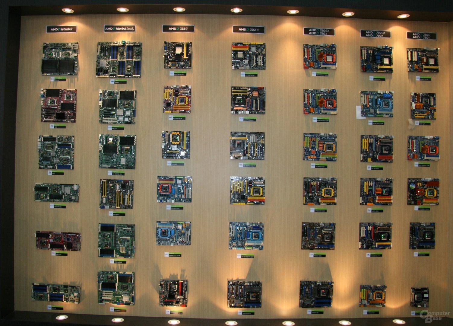 Mainboard-Wand von AMD auf der Computex 2009