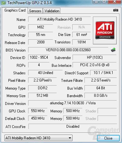 Diskrete Radeon Mobility HD3410 im HP DV2