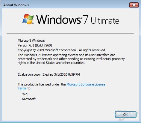 Windows 7 Ultimate Build 7260