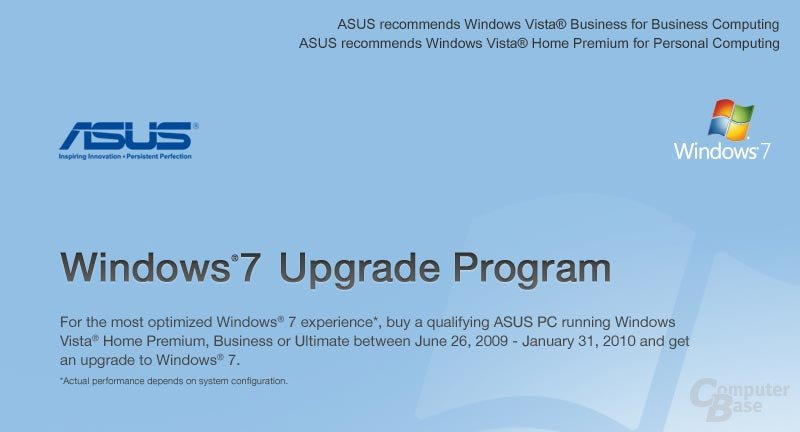 Asus Windows 7 Upgrade Programm