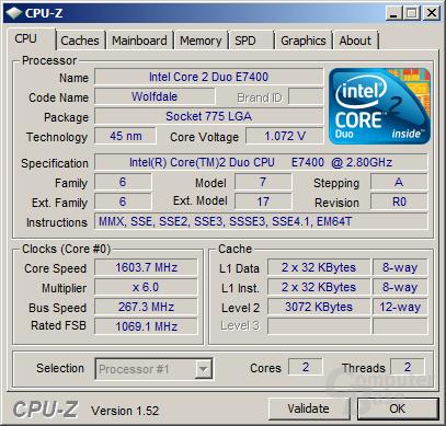 Core 2 Duo E7400 beim Stromsparen