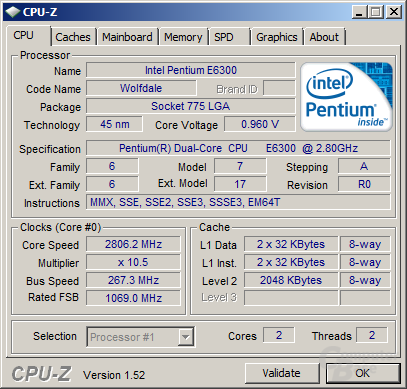 Pentium E6300 stabil unter einem Volt