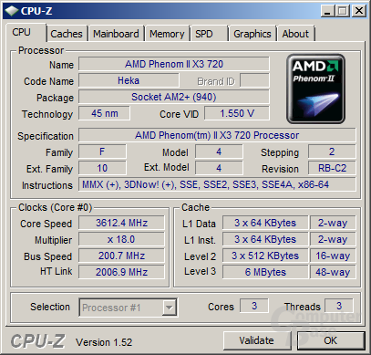 Phenom II X3 720 BE bei 3,6 GHz