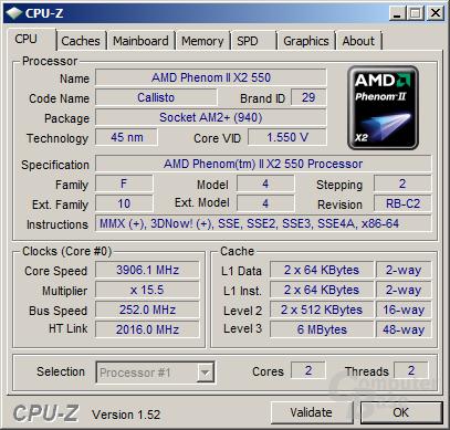 Phenom II X2 550 BE auf 3,9 GHz
