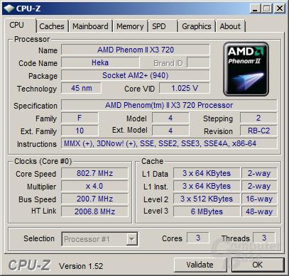 AMD Phenom II X3 720 beim Stromsparen