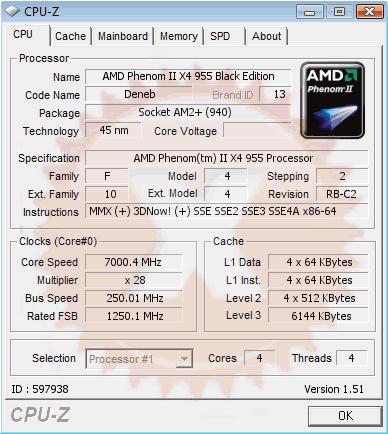 AMD Phenom II X4 955 Black Edition bei 7 GHz
