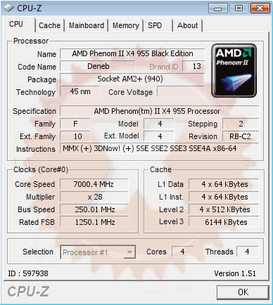AMD Phenom II X4 955 Black Edition bei 7 GHz