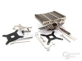 Thermalright AXP-140 Lieferumfang plus Sockel 1366 Blot-Thru Kit