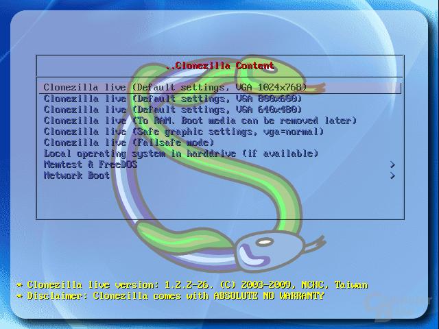 Das integrierte Auswahlmenü von Clonezilla