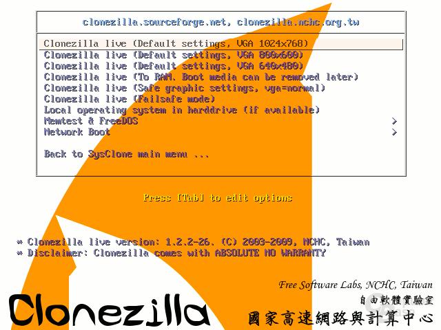Clonezilla-Menü mit Backlink zu SysClone