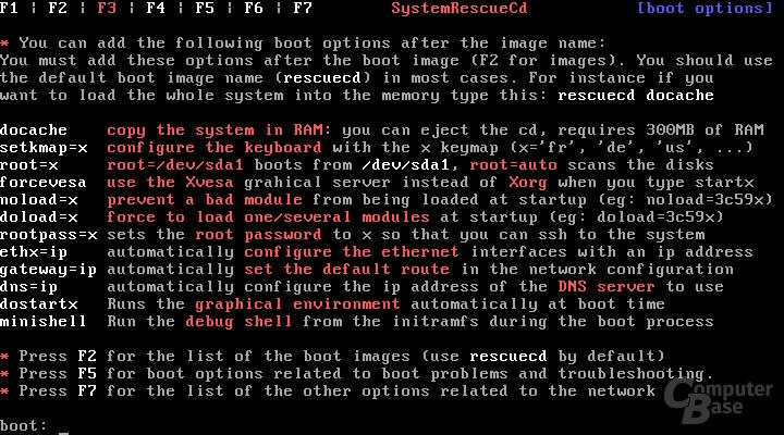 SystemRescueCd Bootoptionen