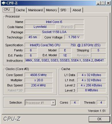 Core i7 750 bei 4,6 GHz mit sehr hoher Spannung