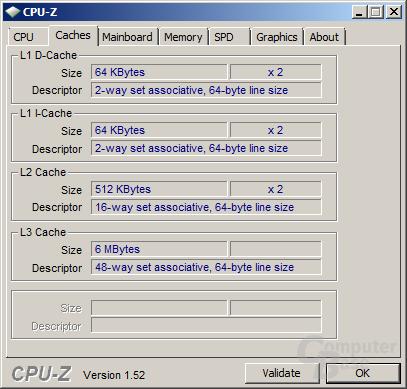 Cache des AMD Phenom II X2 545