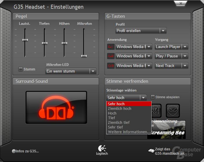 Software zum Logitech G35
